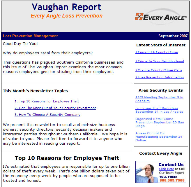 The Vaughan Report Sample